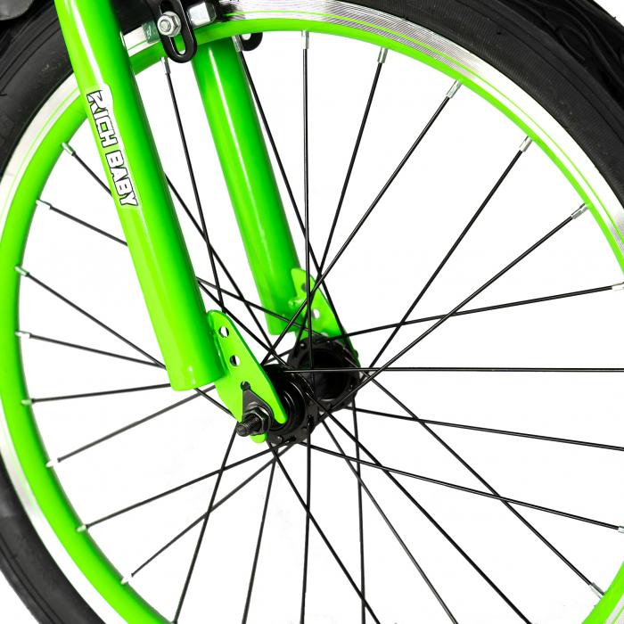 """Bicicleta baieti RICH BABY R20WTB, roata 20"""", 7-10 ani, culoare negru/verde [6]"""
