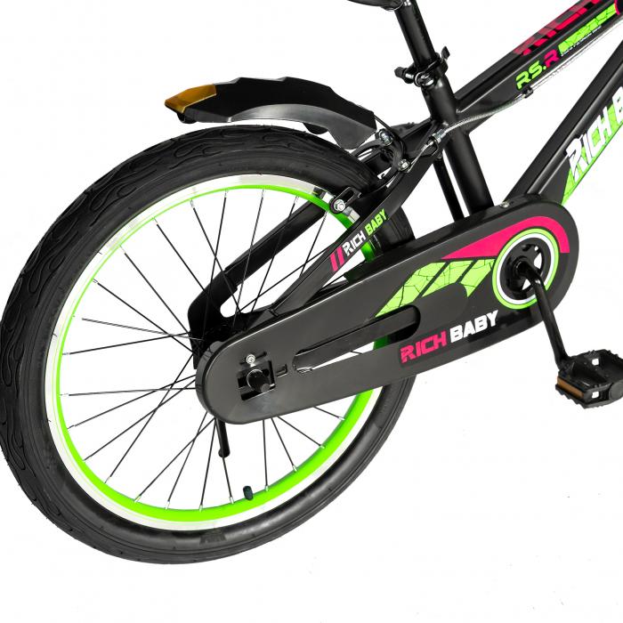 """Bicicleta baieti RICH BABY R20WTB, roata 20"""", 7-10 ani, culoare negru/verde [3]"""