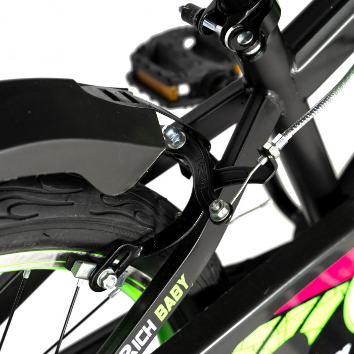 """Bicicleta baieti RICH BABY R20WTB, roata 20"""", 7-10 ani, culoare negru/verde [2]"""
