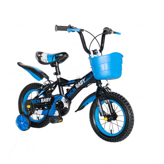 "Bicicleta baieti Rich Baby T1204C, roata 12"", C-Brake,  roti ajutatoare, 2-4 ani, negru/albastru [4]"