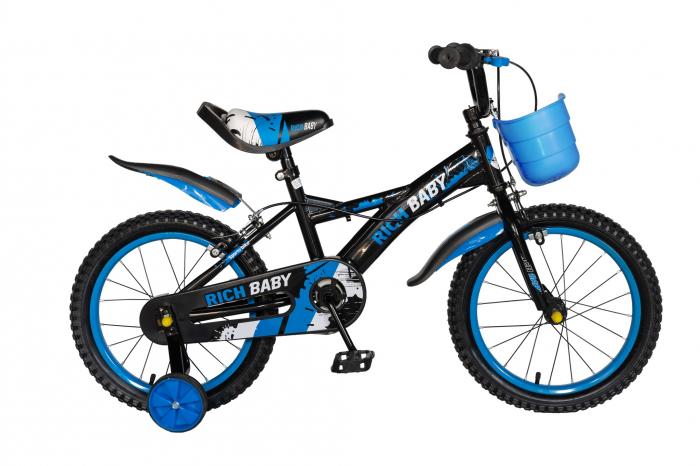 "Bicicleta baieti Rich Baby T1204C, roata 12"", C-Brake,  roti ajutatoare, 2-4 ani, negru/albastru [0]"