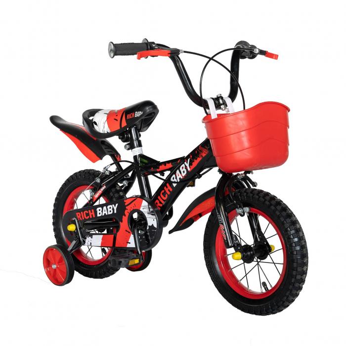 "Bicicleta baieti Rich Baby T1204C, roata 12"", C-Brake,  roti ajutatoare, 2-4 ani, negru/rosu [1]"