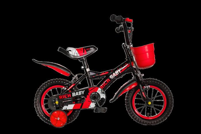 "Bicicleta baieti Rich Baby T1204C, roata 12"", C-Brake,  roti ajutatoare, 2-4 ani, negru/rosu [0]"