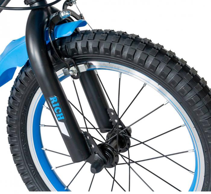 "Bicicleta baieti Rich Baby T1602C, roata 16"", C-Brake, roti ajutatoare, 4-6 ani, negru/albastru [1]"