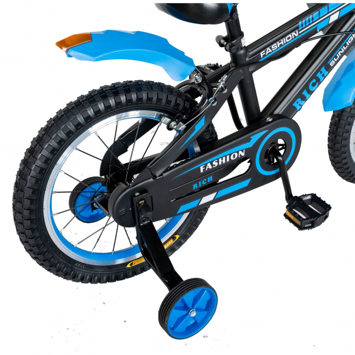 "Bicicleta baieti Rich Baby T1602C, roata 16"", C-Brake, roti ajutatoare, 4-6 ani, negru/albastru [2]"