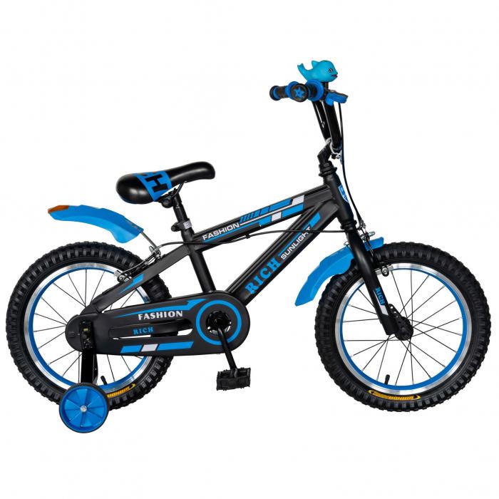 "Bicicleta baieti Rich Baby T1602C, roata 16"", C-Brake, roti ajutatoare, 4-6 ani, negru/albastru [0]"