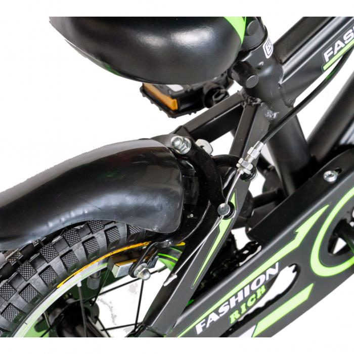 "Bicicleta baieti Rich Baby T1602C, roata 16"", C-Brake, roti ajutatoare, 4-6 ani, negru/verde [3]"