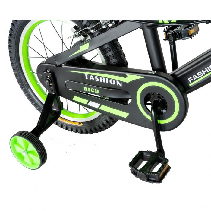 "Bicicleta baieti Rich Baby T1602C, roata 16"", C-Brake, roti ajutatoare, 4-6 ani, negru/verde [1]"