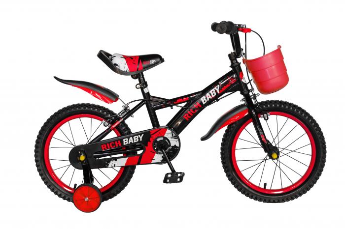 "Bicicleta baieti Rich Baby T1604C, roata 16"", C-Brake,  roti ajutatoare, 4-6 ani, negru/rosu [0]"