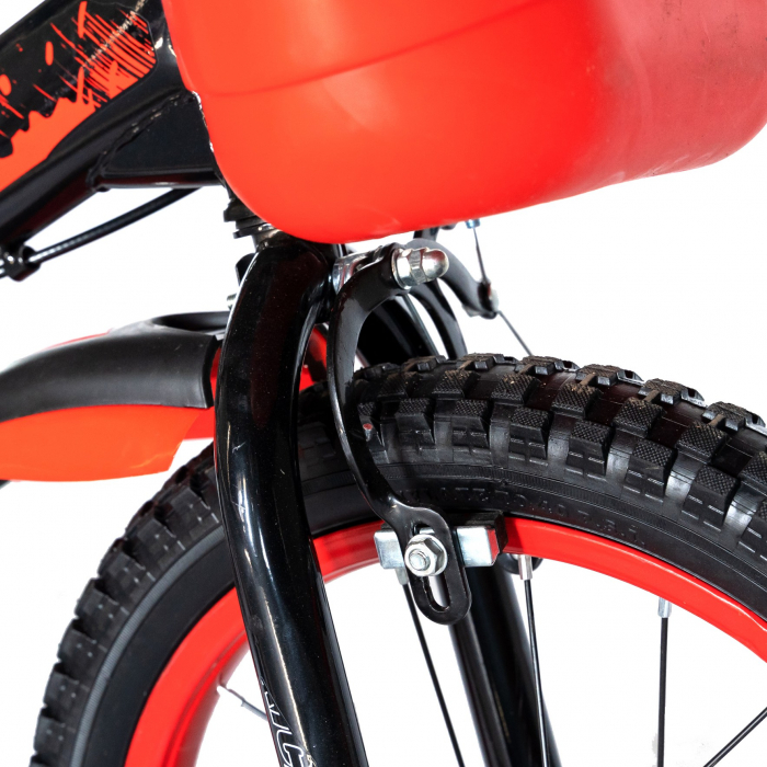 "Bicicleta baieti Rich Baby T1604C, roata 16"", C-Brake,  roti ajutatoare, 4-6 ani, negru/rosu [1]"