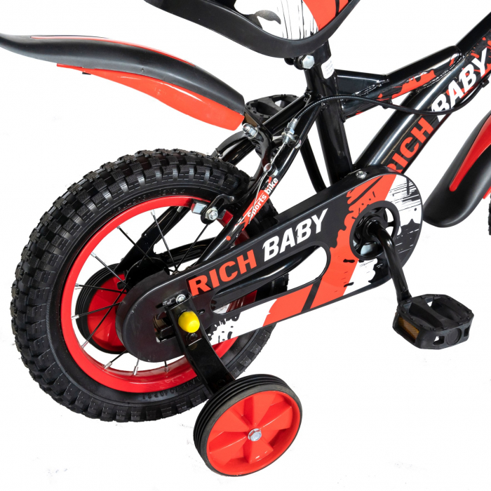 "Bicicleta baieti Rich Baby T1604C, roata 16"", C-Brake,  roti ajutatoare, 4-6 ani, negru/rosu [4]"