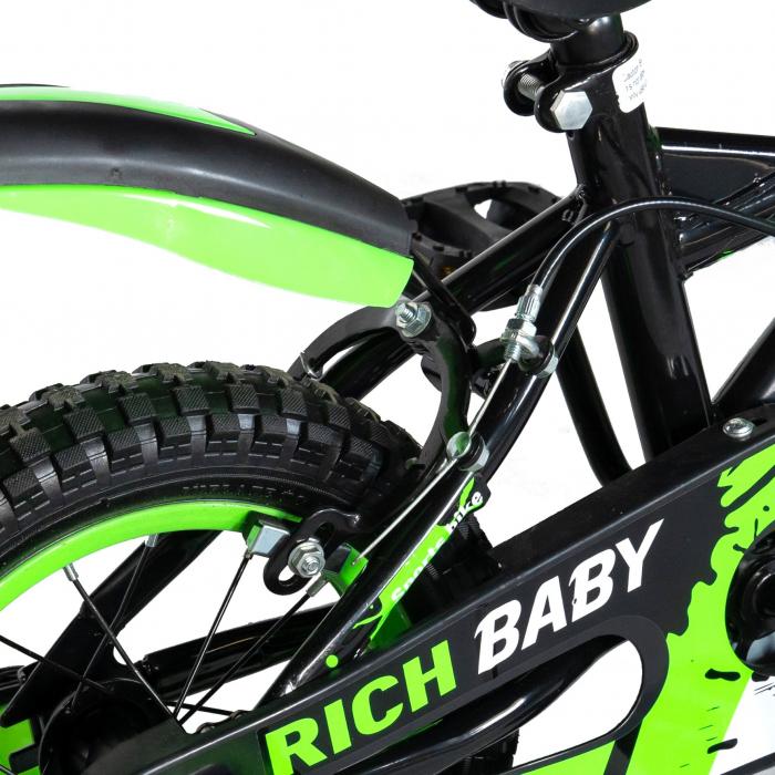"Bicicleta baieti Rich Baby T1604C, roata 16"", C-Brake,  roti ajutatoare, 4-6 ani, negru/verde [2]"