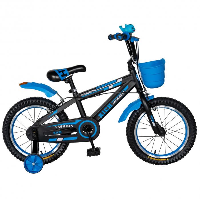 "Bicicleta baieti Rich Baby T2002C, roata 20"", C-Brake, roti ajutatoare, 7-10 ani,  negru/albastru [0]"