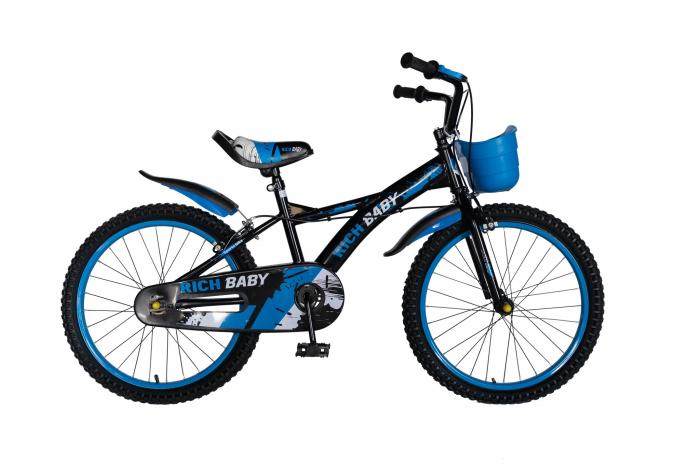 "Bicicleta baieti Rich Baby T2004C, roata 20"", C-Brake, 7-10 ani, negru/albastru [0]"