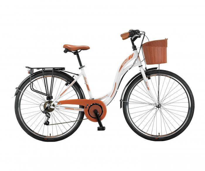 "Bicicleta City Umit Alanya, Culoare Alb/Maro, Roata 26"", Otel [0]"
