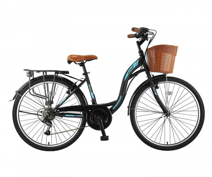 """Bicicleta City Umit Alanya, Culoare Negru/Verde, Roata 26"""", Cadru Otel [0]"""