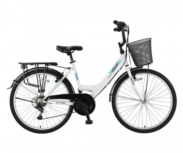 """Bicicleta City Umit Safiro, Culoare Alb/Turkoaz/Mov , Roata 24"""", Cadru Otel [0]"""