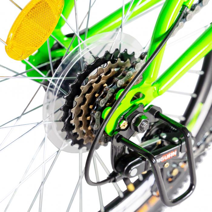 Bicicleta copii 20 inch RICH Alpin R2049A, 6 viteze, tip frana V-Brake, culoare verde/negru, varsta 7-10 ani [3]