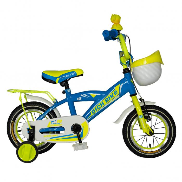 Bicicleta copii Rich Baby 2-4 ani, Roti 12 Inch, V-Brake, Roti Ajutatoare, Rich Baby CST12/03C, Cadru Albastru cu Design Galben [0]