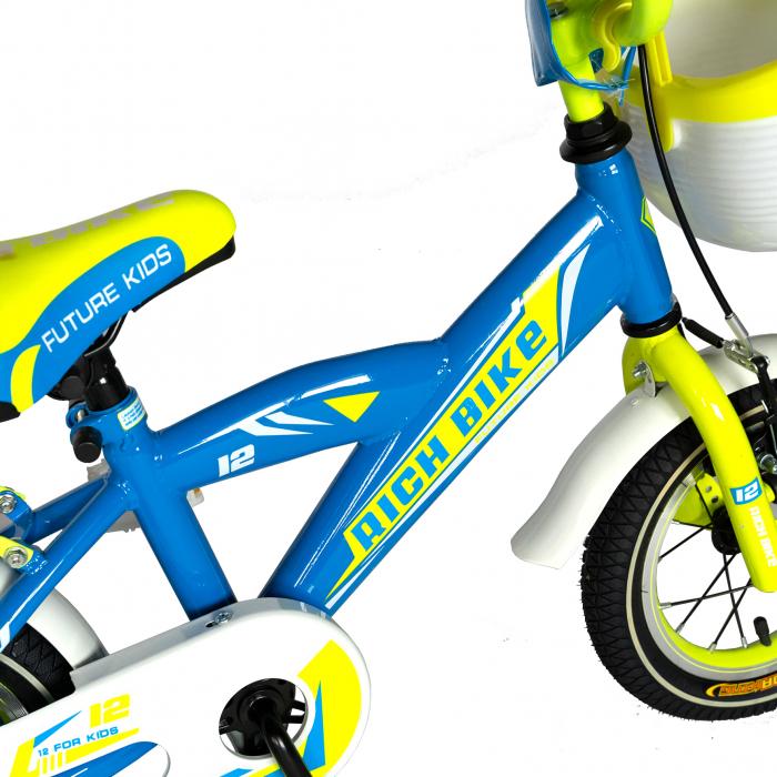 Bicicleta copii Rich Baby 2-4 ani, Roti 12 Inch, V-Brake, Roti Ajutatoare, Rich Baby CST12/03C, Cadru Albastru cu Design Galben [4]