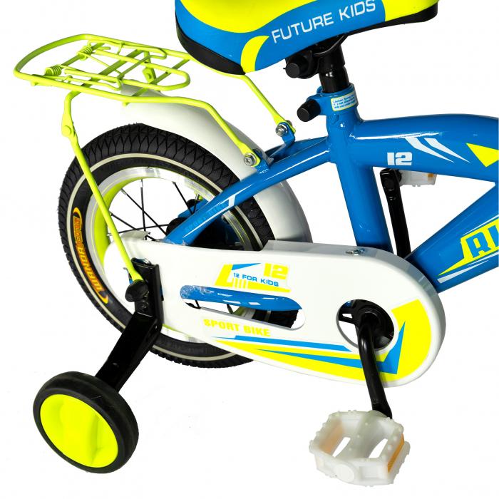 Bicicleta copii Rich Baby 2-4 ani, Roti 12 Inch, V-Brake, Roti Ajutatoare, Rich Baby CST12/03C, Cadru Albastru cu Design Galben [2]
