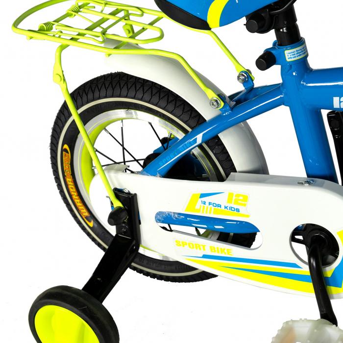 "Bicicleta copii Rich Baby T1603C, roata 16"", V-Brake,  roti ajutatoare, 4-6 ani, albastru/galben [2]"
