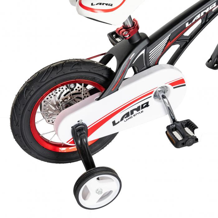 "Bicicleta copii Rich Baby W1246D, roata 12"", cadru aliaj magneziu, frana C-Brake, roti ajutatoare, 2-4 ani, negru/rosu [3]"