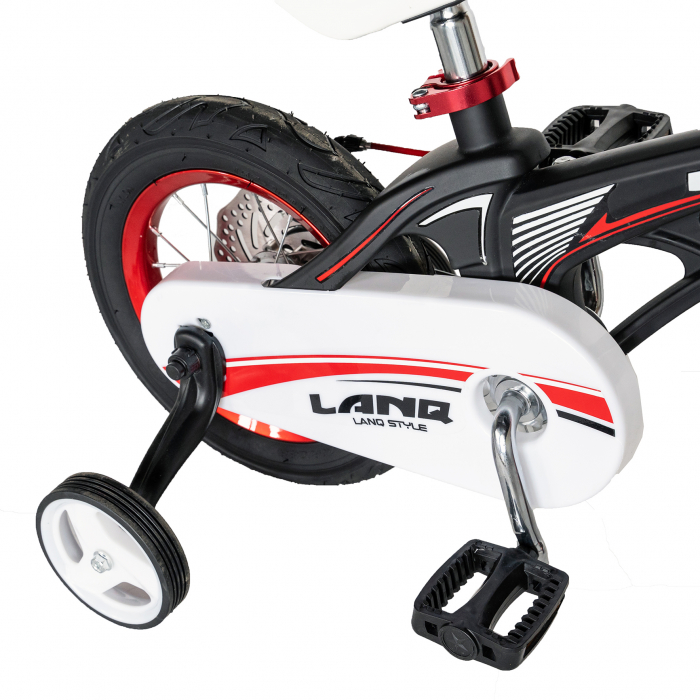 "Bicicleta copii Rich Baby W1246D, roata 12"", cadru aliaj magneziu, frana C-Brake, roti ajutatoare, 2-4 ani, negru/rosu [4]"