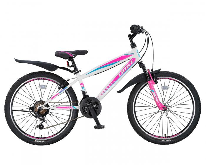 """Bicicleta Copii Umit Faster-MSV - V-21 , Culoare Alb/Roz , Roata 24"""", Cadru Otel [0]"""