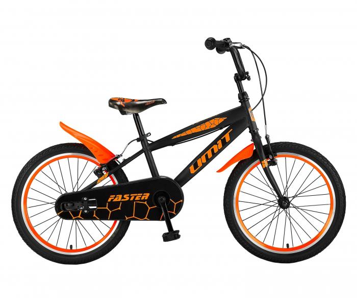 """Bicicleta Copii Umit Faster ST culoare Negru/Portocaliu Roata 20"""" , cadru Otel [0]"""