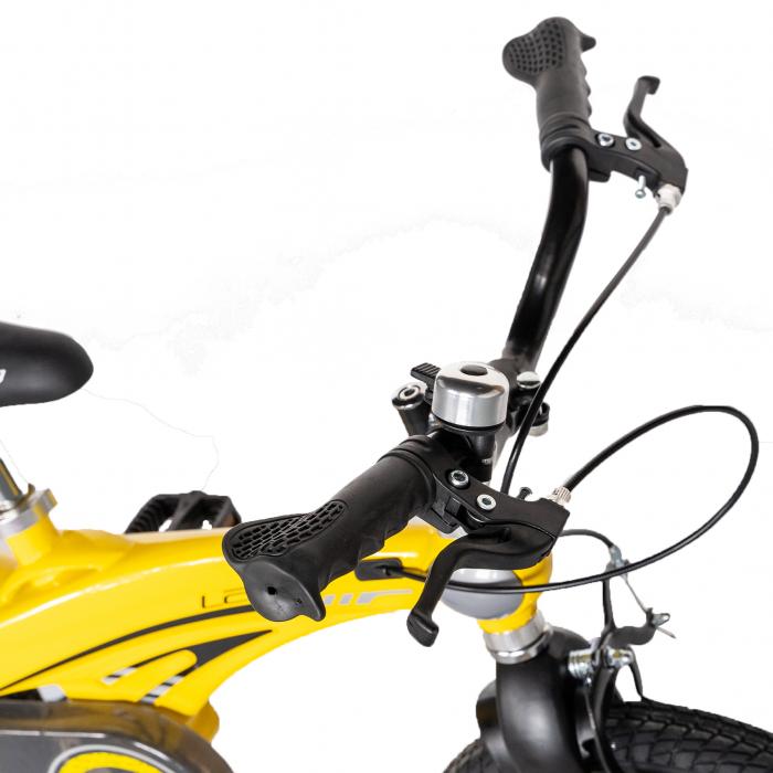 "Bicicleta copii W1639D, roata 16"", cadru aliaj magneziu, frana C-Brake, roti ajutatoare, 4-6 ani, galben/negru [8]"
