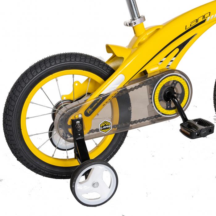 "Bicicleta copii W1639D, roata 16"", cadru aliaj magneziu, frana C-Brake, roti ajutatoare, 4-6 ani, galben/negru [3]"