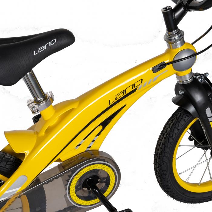 "Bicicleta copii W1639D, roata 16"", cadru aliaj magneziu, frana C-Brake, roti ajutatoare, 4-6 ani, galben/negru [5]"