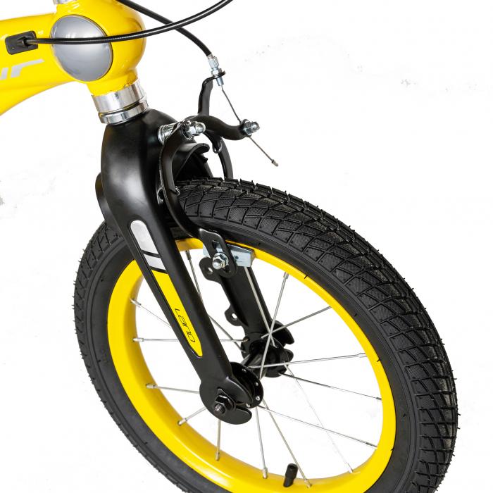 "Bicicleta copii W1639D, roata 16"", cadru aliaj magneziu, frana C-Brake, roti ajutatoare, 4-6 ani, galben/negru [7]"