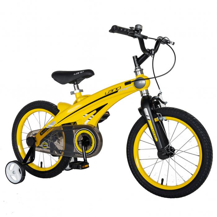 "Bicicleta copii W1639D, roata 16"", cadru aliaj magneziu, frana C-Brake, roti ajutatoare, 4-6 ani, galben/negru [1]"