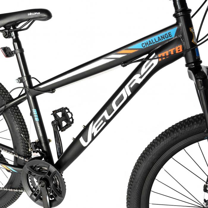 "Bicicleta de munte Velors V2610A, roata 26"", frana disc, 18 viteze, negru/alb/portocaliu [4]"