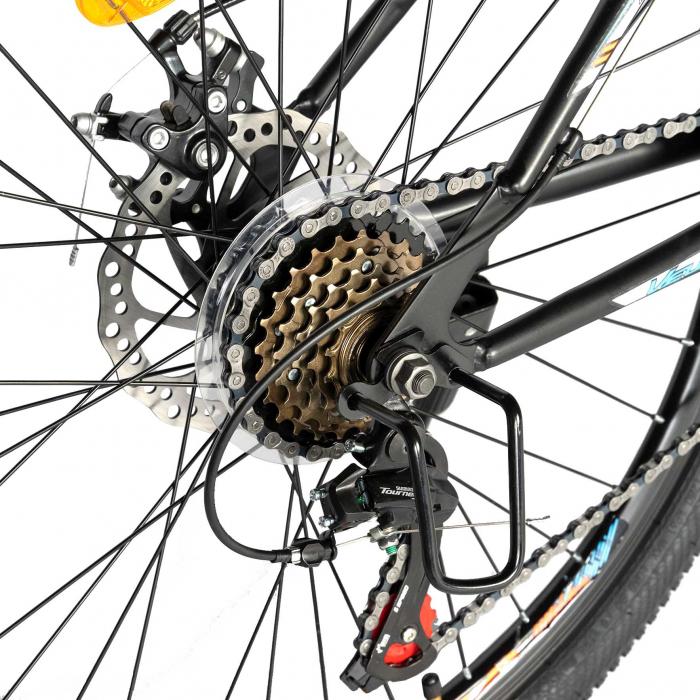 "Bicicleta de munte Velors V2610A, roata 26"", frana disc, 18 viteze, negru/alb/portocaliu [2]"