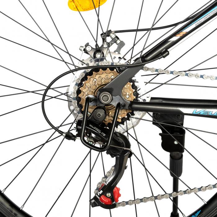 "Bicicleta de munte Velors V2610A, roata 26"", frana disc, 18 viteze, negru/alb/portocaliu [9]"