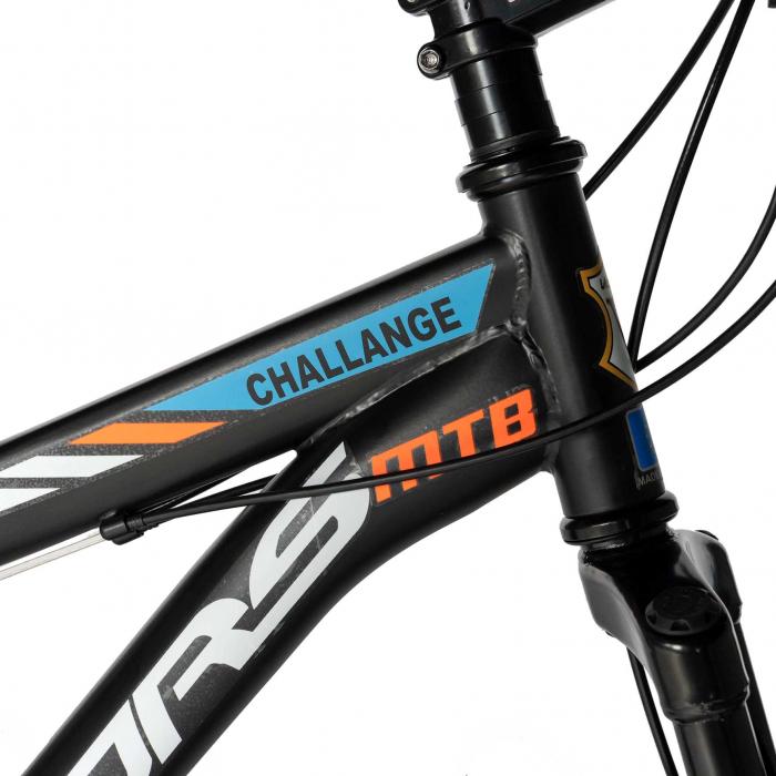 "Bicicleta de munte Velors V2610A, roata 26"", frana disc, 18 viteze, negru/alb/portocaliu [5]"