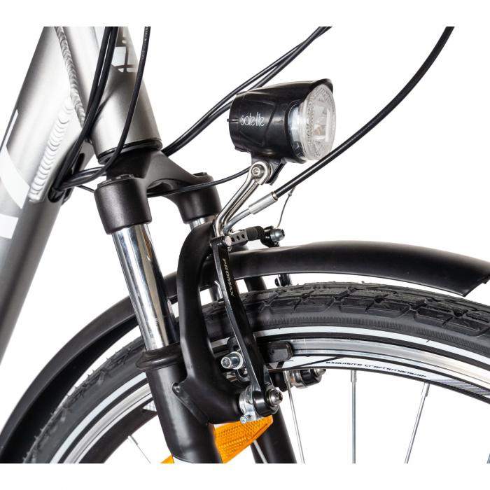 """Bicicleta electrica City (E-BIKE) CARPAT C1010E, roata 28"""", cadru aluminiu, frane V-Brake, transmisie SHIMANO 7 viteze, culoare gri/alb [5]"""