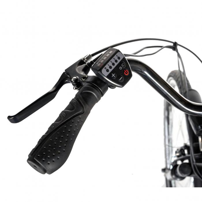"""Bicicleta electrica City (E-BIKE) CARPAT C1010E, roata 28"""", cadru aluminiu, frane V-Brake, transmisie SHIMANO 7 viteze, culoare gri/alb [6]"""