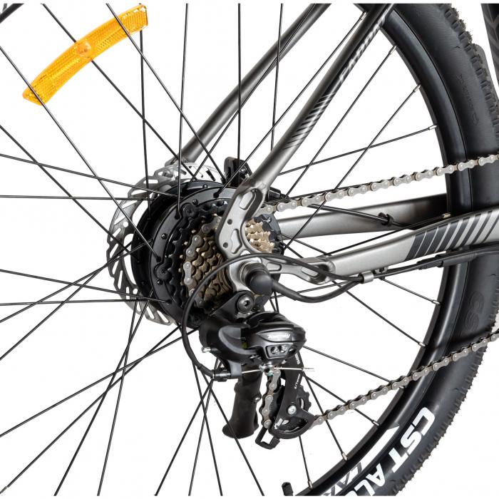 """Bicicleta electrica MTB (E-BIKE) CARPAT 27.5"""" C1007E, cadru aluminiu, frane mecanice disc, echipare SHIMANO 21 viteze, culoare gri/negru [2]"""