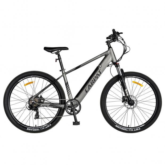 """Bicicleta electrica MTB (E-BIKE) CARPAT 27.5"""" C1007E, cadru aluminiu, frane mecanice disc, echipare SHIMANO 21 viteze, culoare gri/negru [0]"""