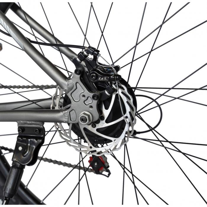 """Bicicleta electrica MTB (E-BIKE) CARPAT 27.5"""" C1011E, cadru aluminiu, frane mecanice disc, transmisie SHIMANO 21 viteze, culoare gri/alb [6]"""