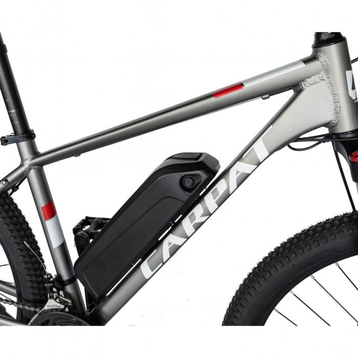 """Bicicleta electrica MTB (E-BIKE) CARPAT 27.5"""" C1011E, cadru aluminiu, frane mecanice disc, transmisie SHIMANO 21 viteze, culoare gri/alb [2]"""