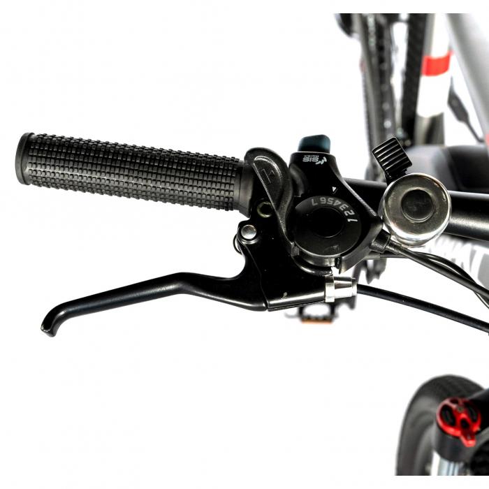 """Bicicleta electrica MTB (E-BIKE) CARPAT 27.5"""" C1011E, cadru aluminiu, frane mecanice disc, transmisie SHIMANO 21 viteze, culoare gri/alb [7]"""