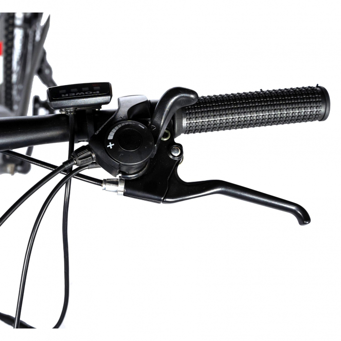 """Bicicleta electrica MTB (E-BIKE) CARPAT 27.5"""" C1011E, cadru aluminiu, frane mecanice disc, transmisie SHIMANO 21 viteze, culoare gri/alb [8]"""