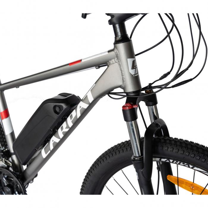 """Bicicleta electrica MTB (E-BIKE) CARPAT 27.5"""" C1011E, cadru aluminiu, frane mecanice disc, transmisie SHIMANO 21 viteze, culoare gri/alb [4]"""