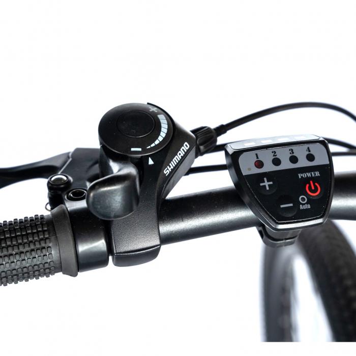 """Bicicleta electrica MTB (E-BIKE) CARPAT 27.5"""" C1011E, cadru aluminiu, frane mecanice disc, transmisie SHIMANO 21 viteze, culoare negru/alb [8]"""