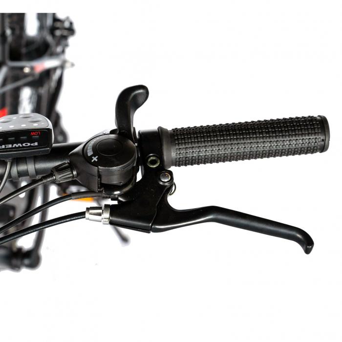 """Bicicleta electrica MTB (E-BIKE) CARPAT 27.5"""" C1011E, cadru aluminiu, frane mecanice disc, transmisie SHIMANO 21 viteze, culoare negru/alb [9]"""